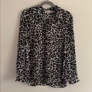 NWOT Leopard Print Button Up Blouse